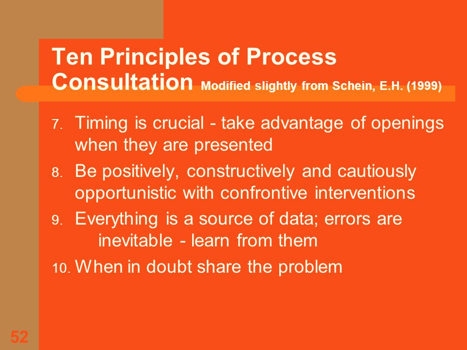 52 Ten Principles of Process Consultation Modified slightly from Schein, E.H.