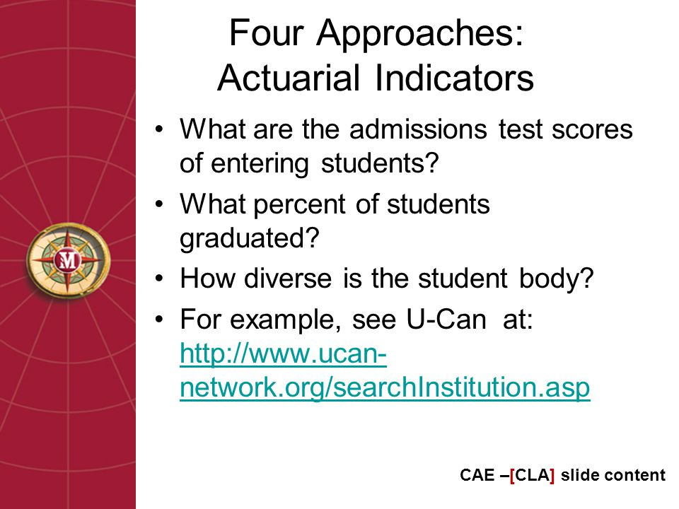 Four Approaches: Actuarial Indicators What are the admissions test scores of entering students.