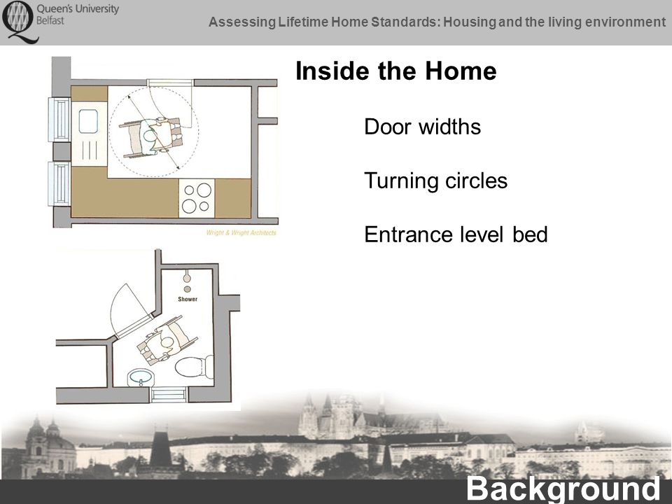 Assessing Lifetime Home Standards: Housing and the living environment Inside the Home Background Door widths Turning circles Entrance level bed
