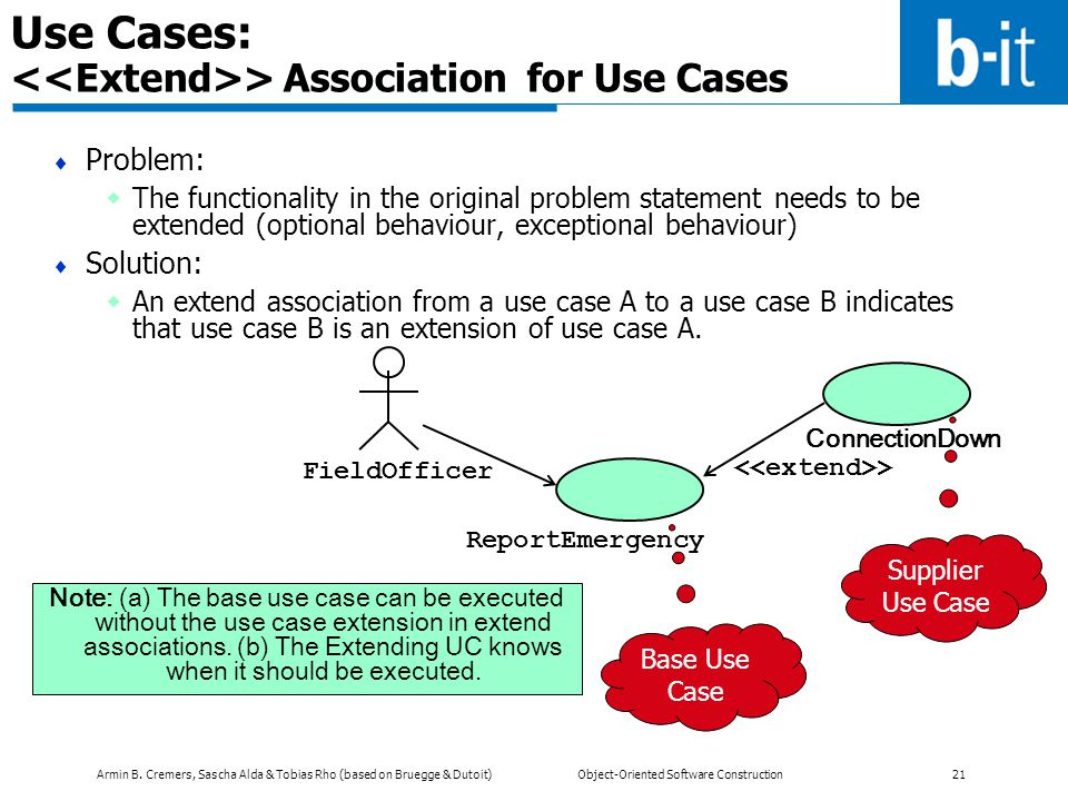 Armin B. Cremers, Sascha Alda & Tobias Rho (based on Bruegge & Dutoit) Object-Oriented Software Construction 21 Use Cases: > Association for Use Cases