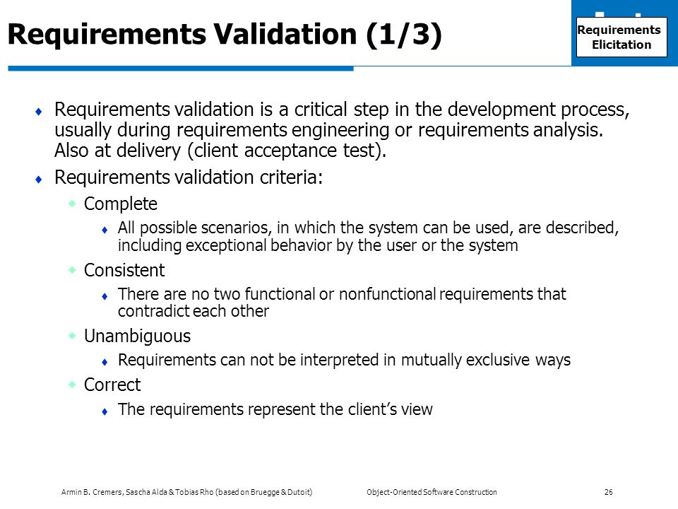Armin B. Cremers, Sascha Alda & Tobias Rho (based on Bruegge & Dutoit) Object-Oriented Software Construction 26 Requirements Validation (1/3)  Requir