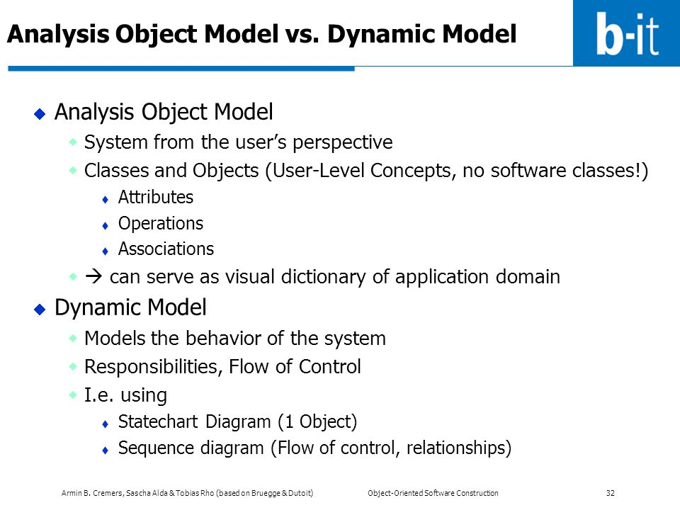 Armin B. Cremers, Sascha Alda & Tobias Rho (based on Bruegge & Dutoit) Object-Oriented Software Construction 32 Analysis Object Model vs. Dynamic Mode