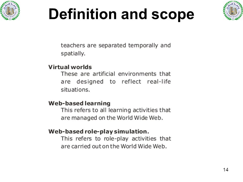 14 Definition and scope
