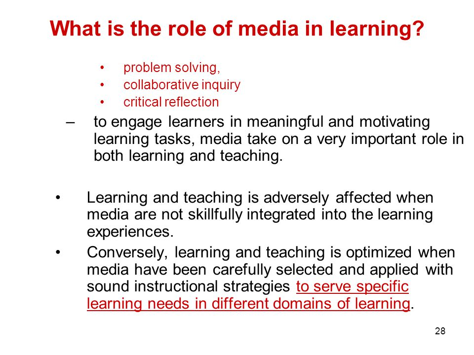 28 What is the role of media in learning.