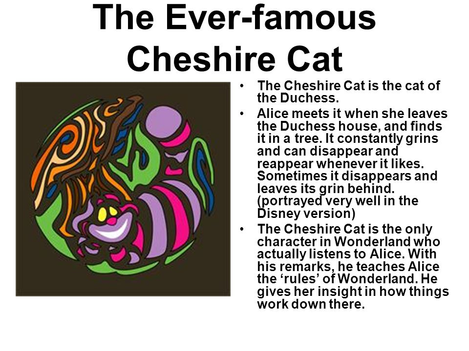The Ever-famous Cheshire Cat The Cheshire Cat is the cat of the Duchess.