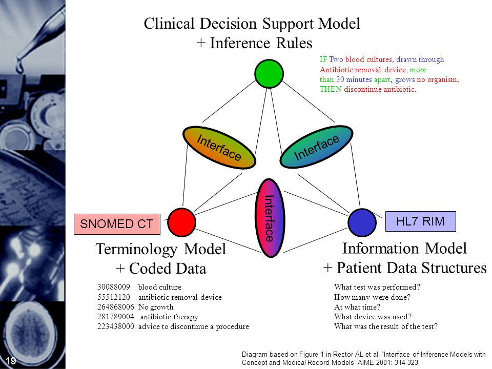 19 Clinical Decision Support Model + Inference Rules Terminology Model + Coded Data Information Model + Patient Data Structures Interface IF Two blood cultures, drawn through Antibiotic removal device, more than 30 minutes apart, grows no organism, THEN discontinue antibiotic.
