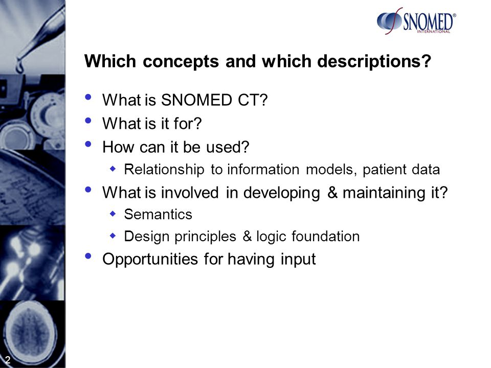 2 Which concepts and which descriptions.What is SNOMED CT.