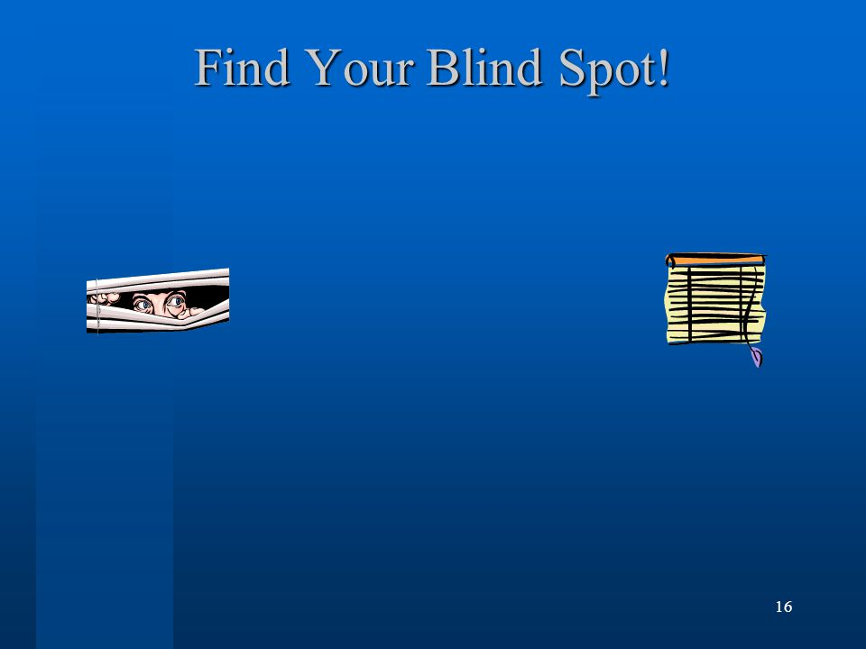15 Blind Spot Demonstration To draw the blind spot tester on a piece of paper, make a small dot on the left side separated by about 6-8 inches from a