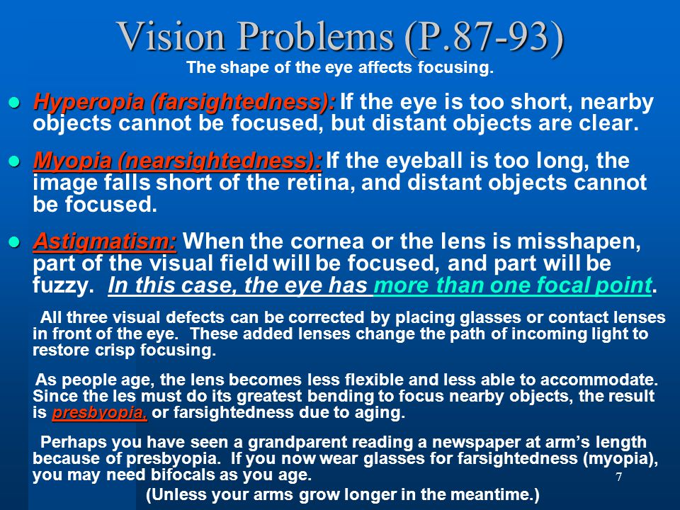 7 Vision Problems (P.87-93) The shape of the eye affects focusing.