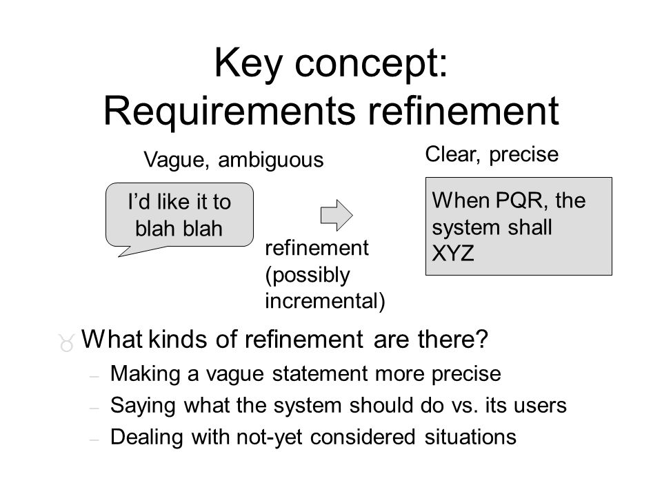 Key concept: Requirements refinement Vague, ambiguous Clear, precise I'd like it to blah When PQR, the system shall XYZ refinement (possibly increment