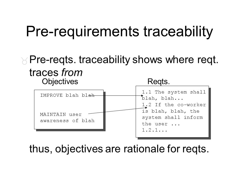 Pre-requirements traceability _ Pre-reqts. traceability shows where reqt. traces from thus, objectives are rationale for reqts. 1.1 The system shall b