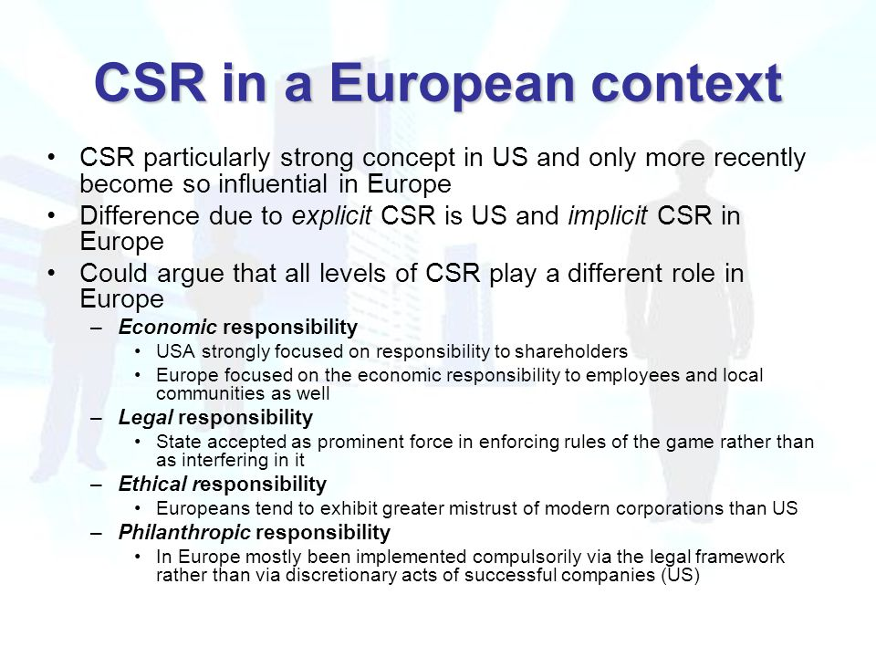 CSR in a European context CSR particularly strong concept in US and only more recently become so influential in Europe Difference due to explicit CSR is US and implicit CSR in Europe Could argue that all levels of CSR play a different role in Europe –Economic responsibility USA strongly focused on responsibility to shareholders Europe focused on the economic responsibility to employees and local communities as well –Legal responsibility State accepted as prominent force in enforcing rules of the game rather than as interfering in it –Ethical responsibility Europeans tend to exhibit greater mistrust of modern corporations than US –Philanthropic responsibility In Europe mostly been implemented compulsorily via the legal framework rather than via discretionary acts of successful companies (US)