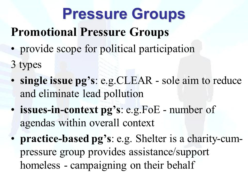 Promotional Pressure Groups provide scope for political participation 3 types single issue pg's: e.g.CLEAR - sole aim to reduce and eliminate lead pollution issues-in-context pg's: e.g.FoE - number of agendas within overall context practice-based pg's: e.g.