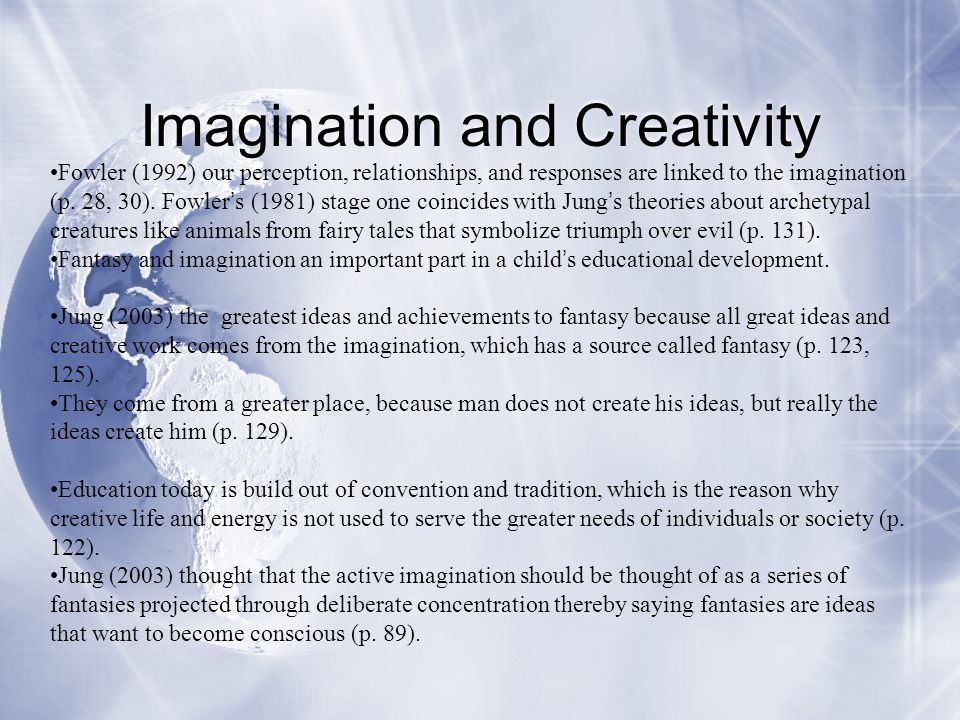 Imagination and Creativity Fowler (1992) our perception, relationships, and responses are linked to the imagination (p. 28, 30). Fowler ' s (1981) sta