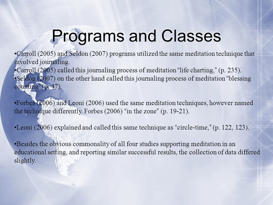 Programs and Classes Carroll (2005) and Seldon (2007) programs utilized the same meditation technique that involved journaling. Carroll (2005) called
