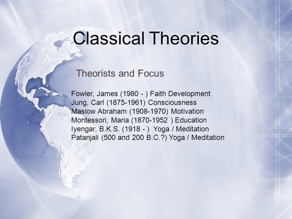 Classical Theories Fowler, James (1980 - ) Faith Development Jung, Carl (1875-1961) Consciousness Maslow Abraham (1908-1970) Motivation Montessori, Ma