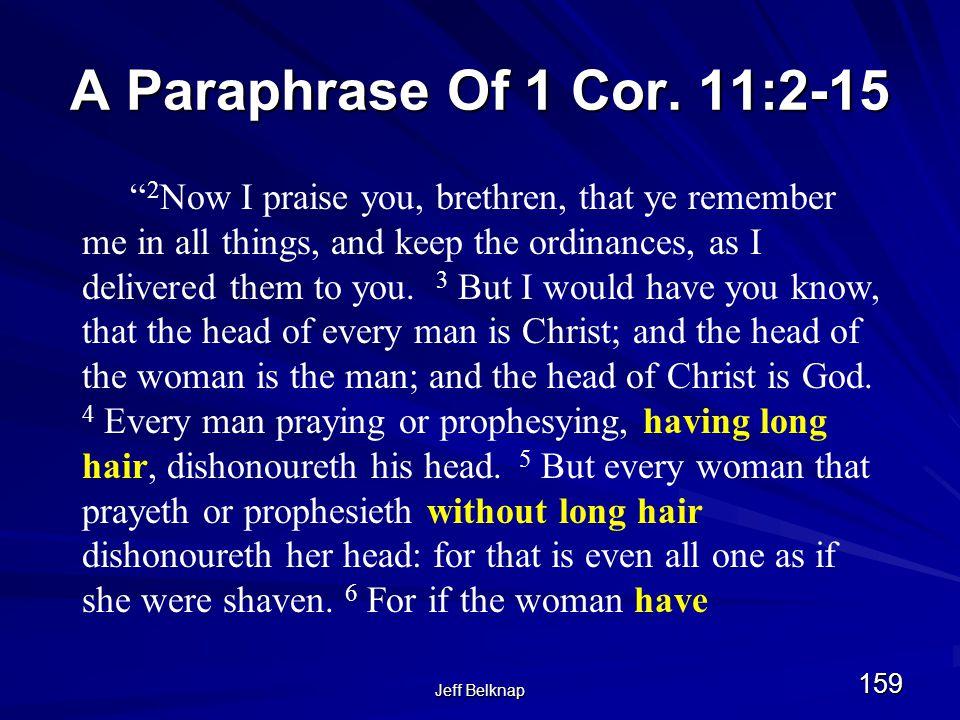 Jeff Belknap 159 A Paraphrase Of 1 Cor.