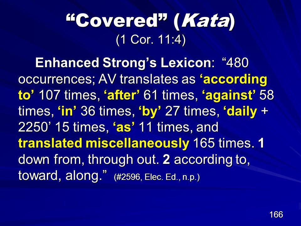 166 Covered (Kata) (1 Cor.