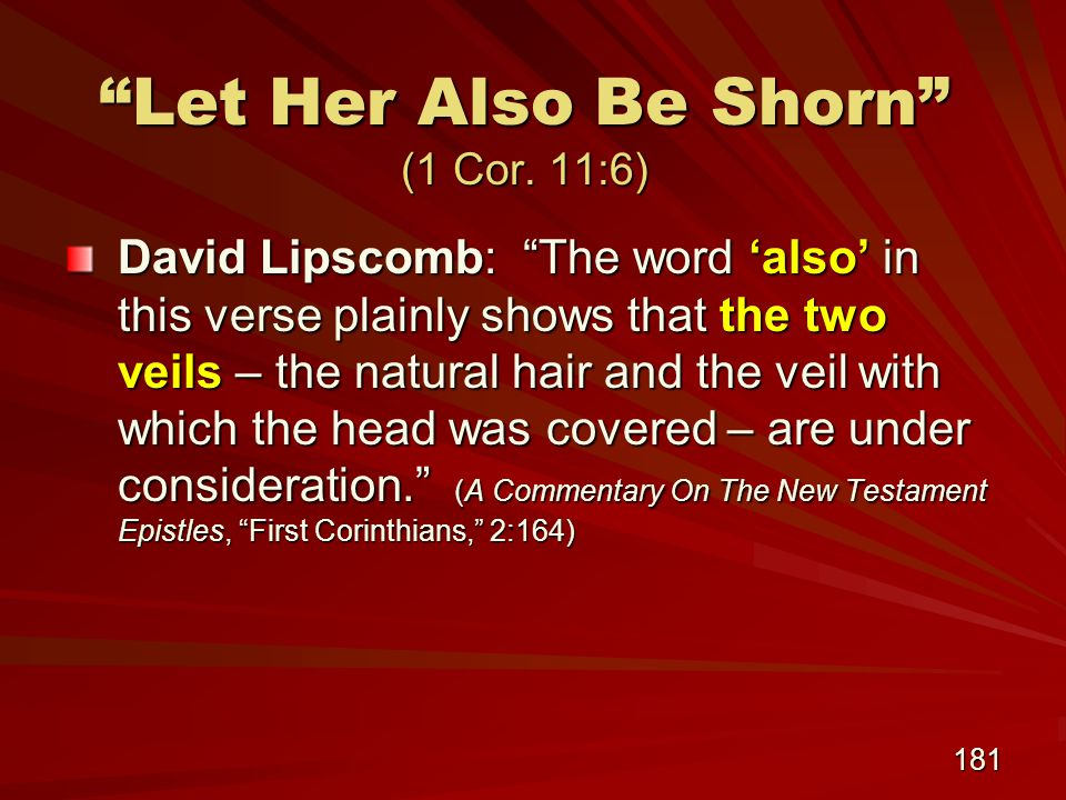 181 Let Her Also Be Shorn (1 Cor.