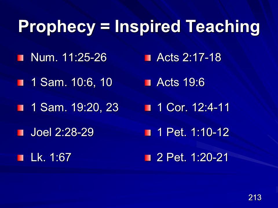213 Prophecy = Inspired Teaching Num. 11:25-26 1 Sam.