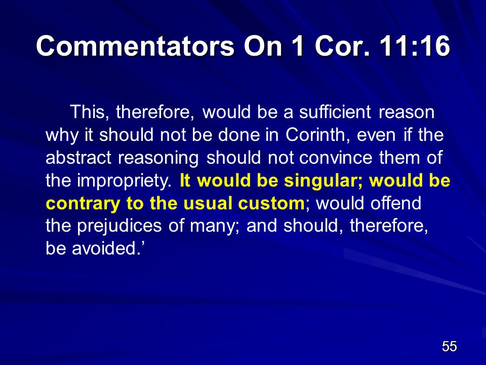 55 Commentators On 1 Cor.