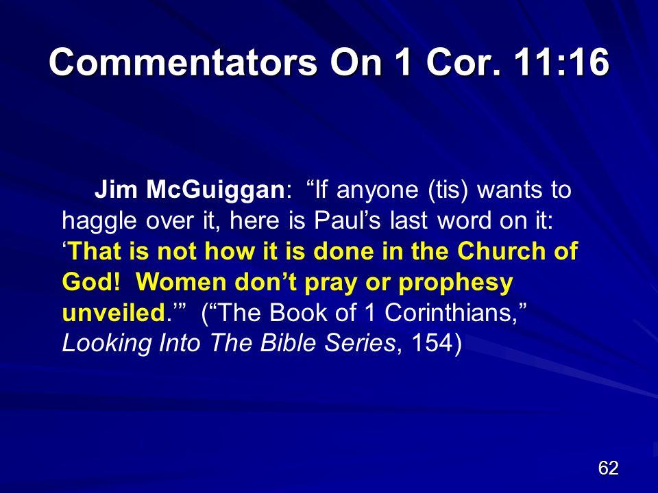 62 Commentators On 1 Cor.