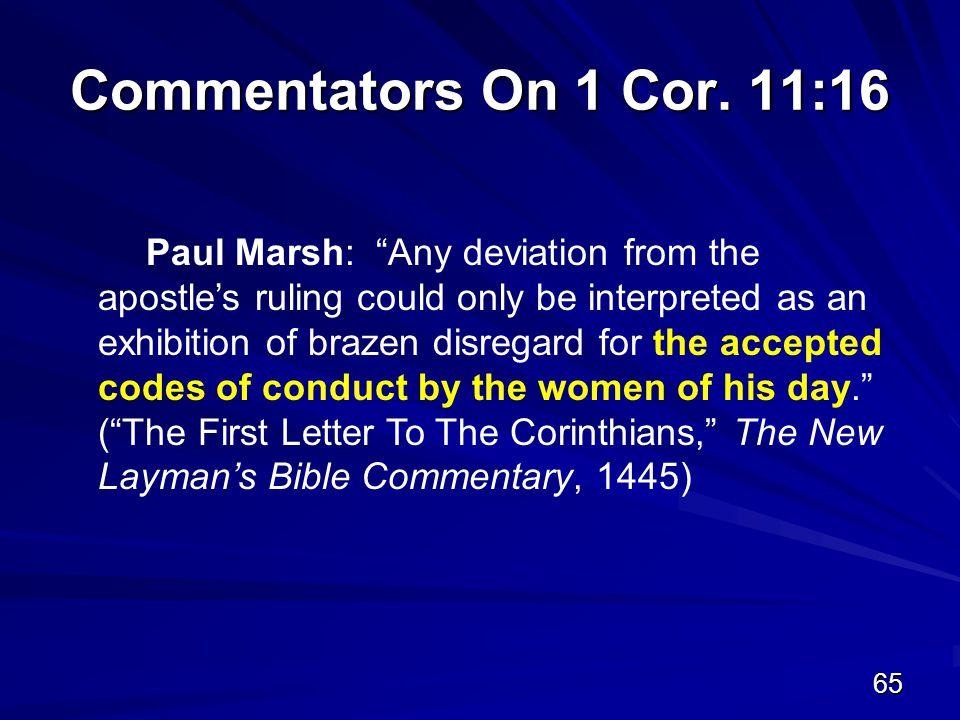 65 Commentators On 1 Cor.