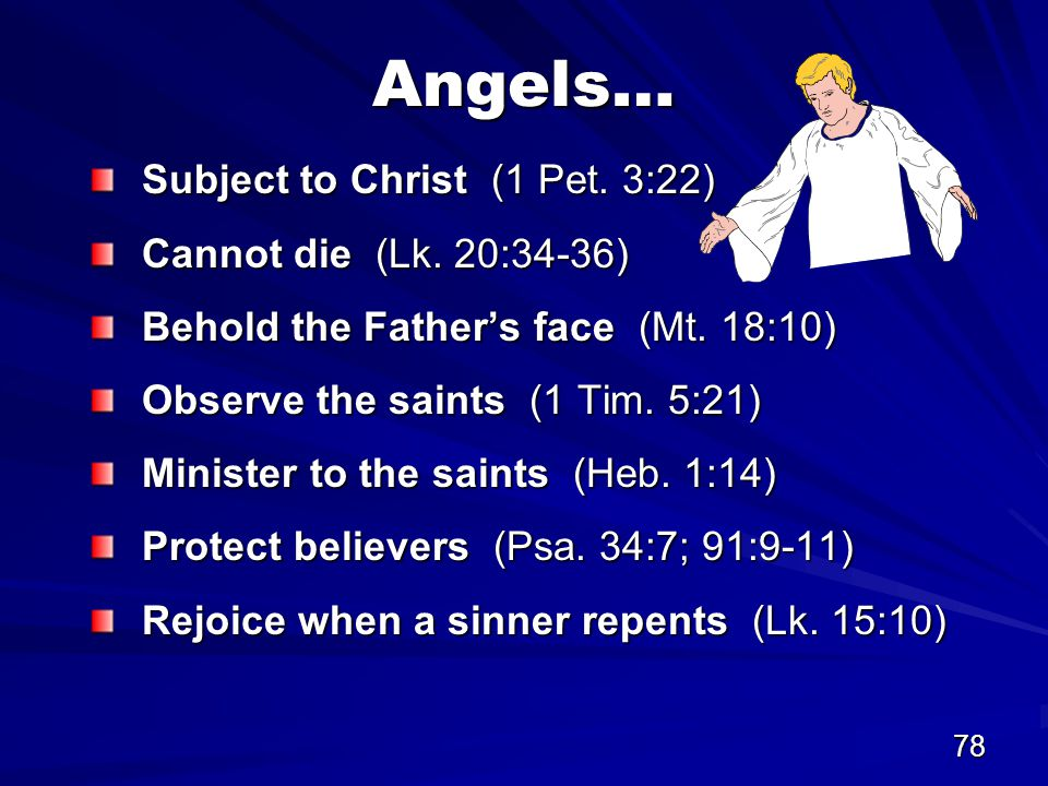 78 Angels… Subject to Christ (1 Pet. 3:22) Cannot die (Lk.