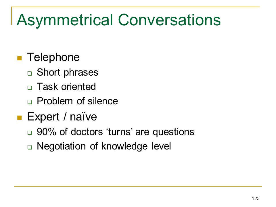 123 Asymmetrical Conversations Telephone  Short phrases  Task oriented  Problem of silence Expert / naïve  90% of doctors 'turns' are questions  Negotiation of knowledge level