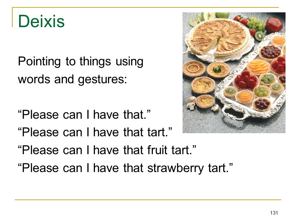 131 Deixis Pointing to things using words and gestures: Please can I have that. Please can I have that tart. Please can I have that fruit tart. Please can I have that strawberry tart.