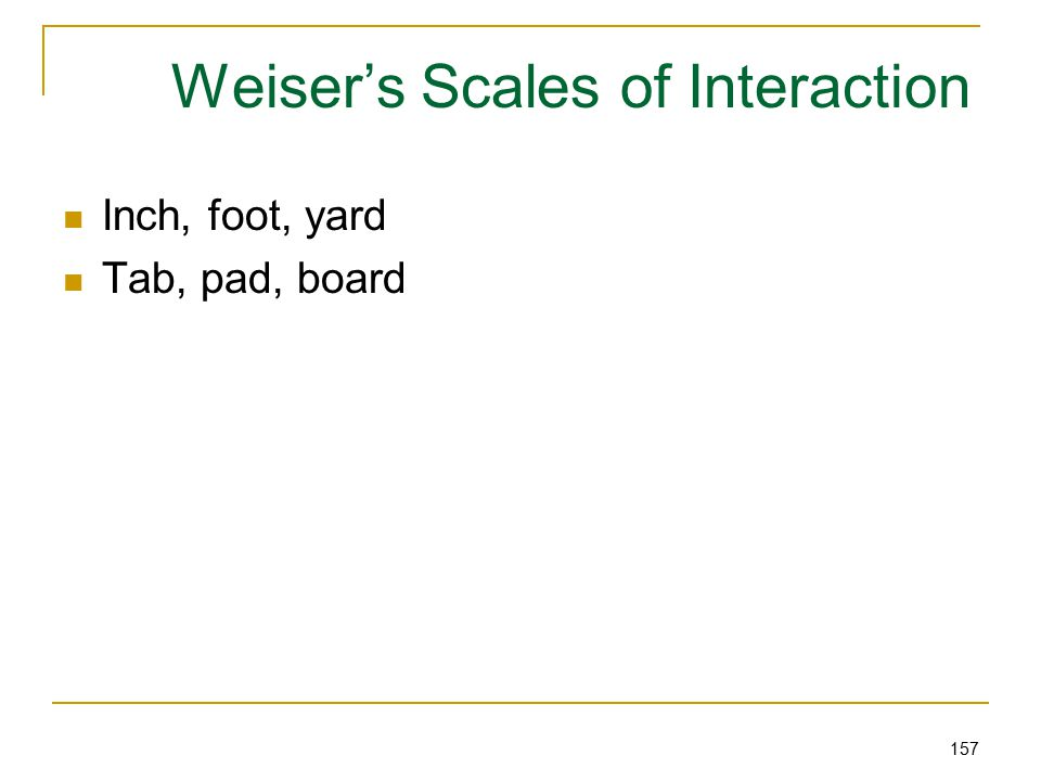 157 Weiser's Scales of Interaction Inch, foot, yard Tab, pad, board