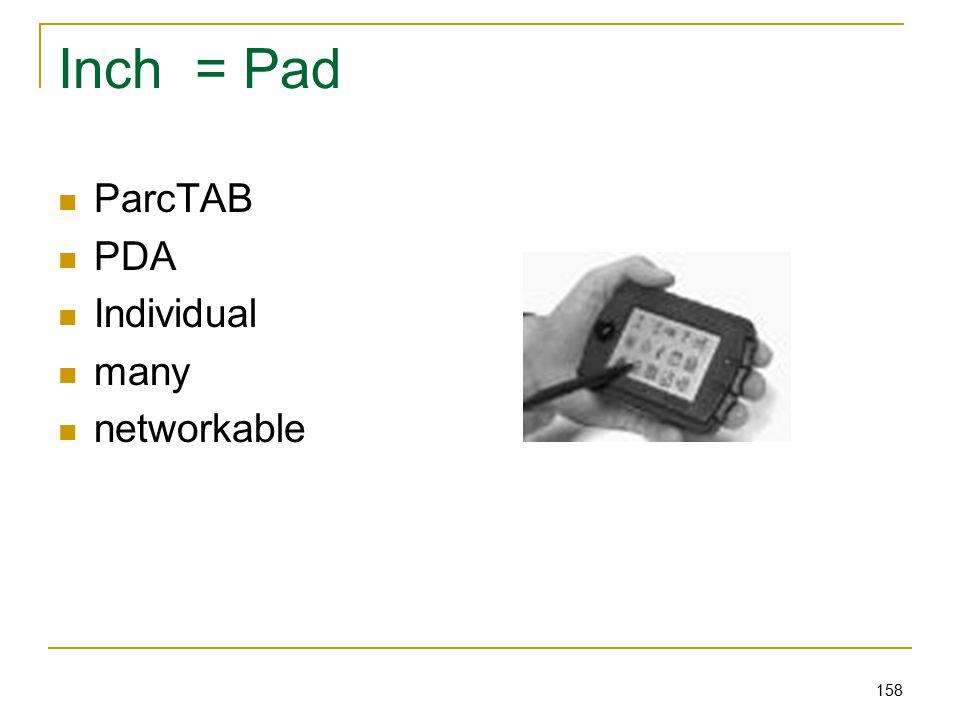158 Inch = Pad ParcTAB PDA Individual many networkable