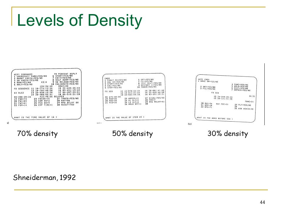 44 Levels of Density 70% density 50% density 30% density Shneiderman, 1992