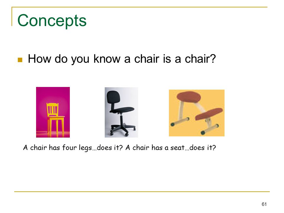 61 Concepts How do you know a chair is a chair. A chair has four legs…does it.