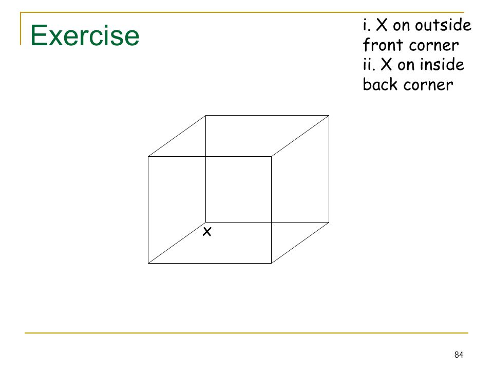 84 Exercise x i. X on outside front corner ii. X on inside back corner