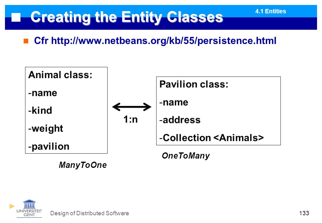 Design of Distributed Software133 Creating the Entity Classes Cfr http://www.netbeans.org/kb/55/persistence.html Animal class: -name -kind -weight -pavilion Pavilion class: -name -address -Collection 1:n ManyToOne OneToMany 4.1 Entities