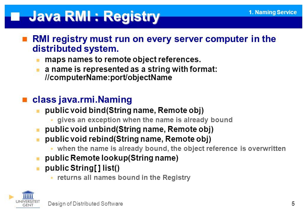Design of Distributed Software Intermezzo : EJB : Enterprise Java Beans I1.