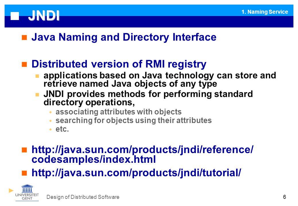 Design of Distributed Software EJB : Enterprise Java Beans I I1.