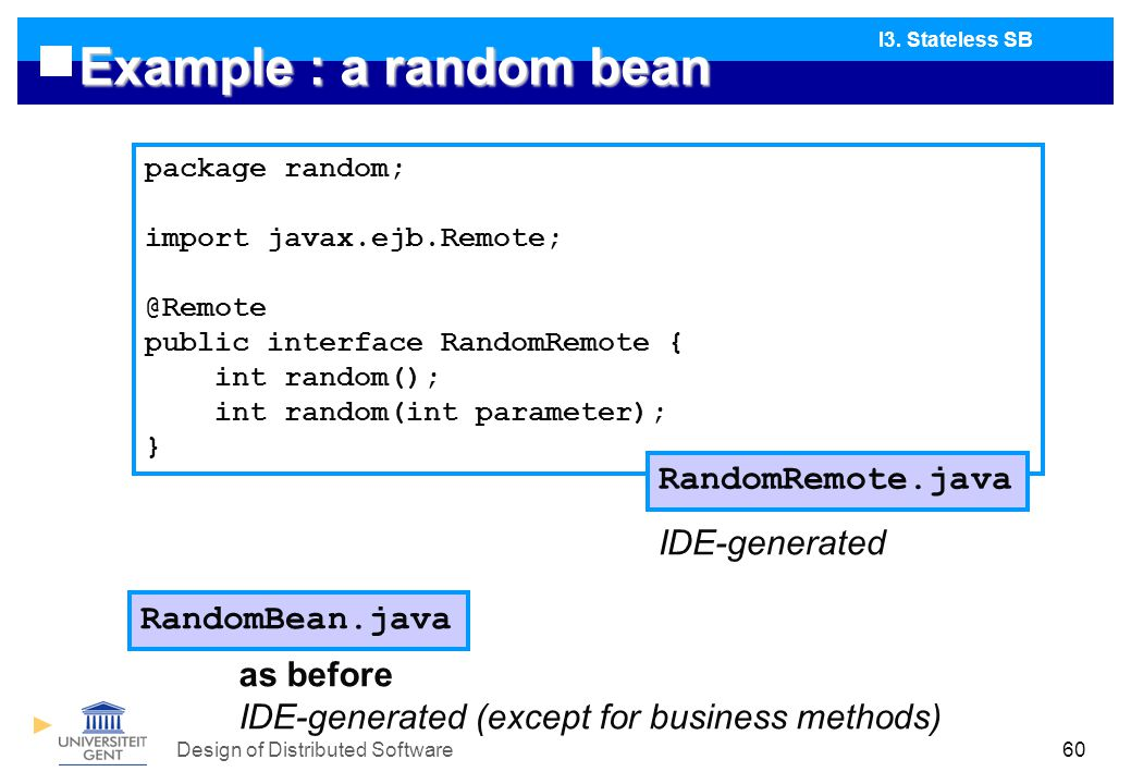 Design of Distributed Software60 Example : a random bean I3.