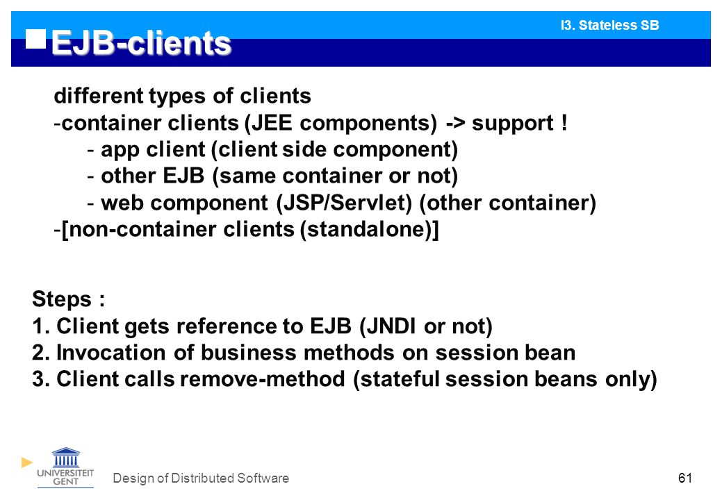 Design of Distributed Software61 EJB-clients I3.