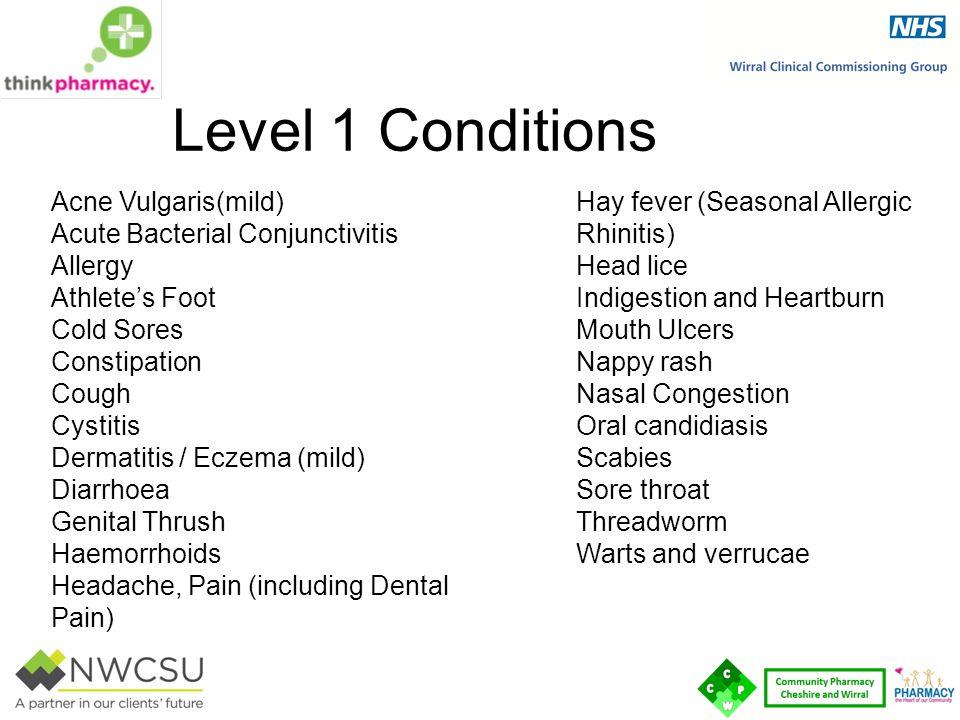 Level 1 Conditions Acne Vulgaris(mild) Acute Bacterial Conjunctivitis Allergy Athlete's Foot Cold Sores Constipation Cough Cystitis Dermatitis / Eczem
