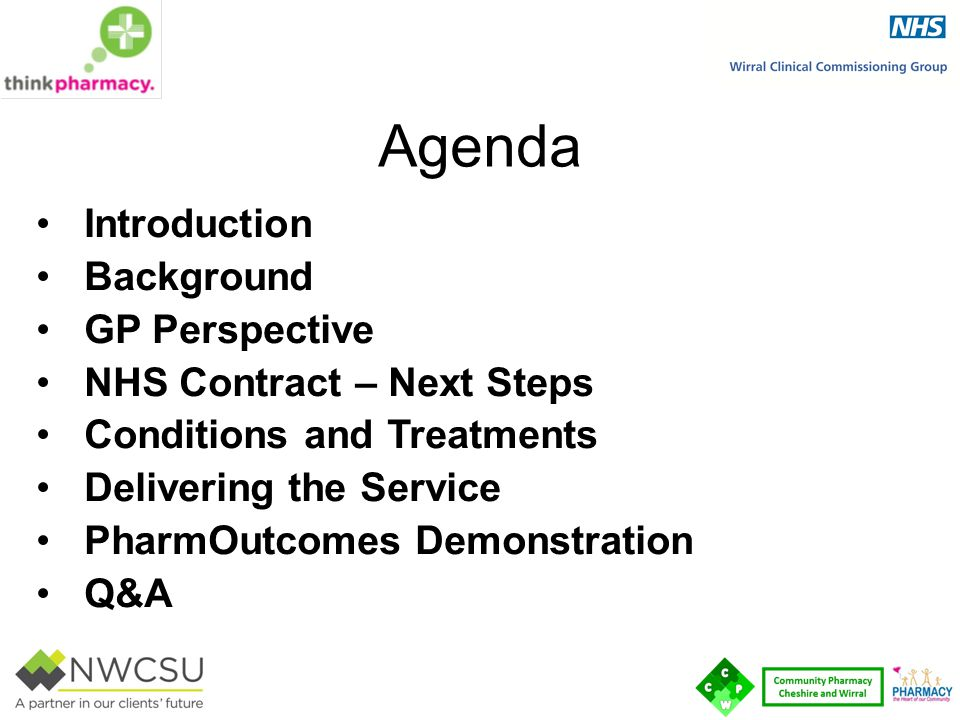 Agenda Introduction Background GP Perspective NHS Contract – Next Steps Conditions and Treatments Delivering the Service PharmOutcomes Demonstration Q