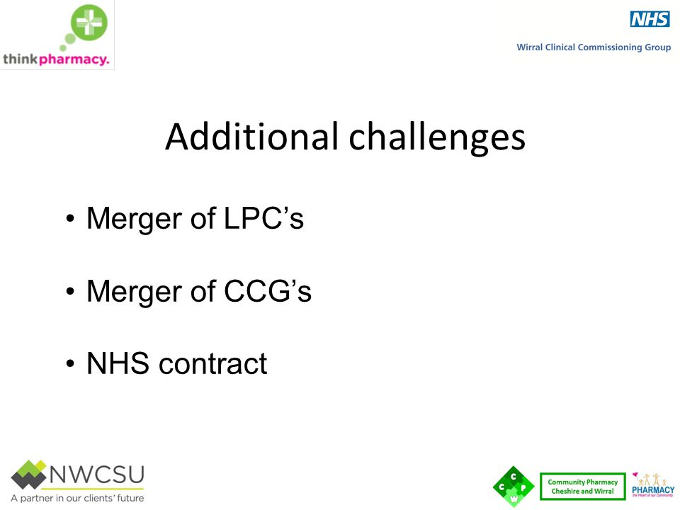 Additional challenges Merger of LPC's Merger of CCG's NHS contract