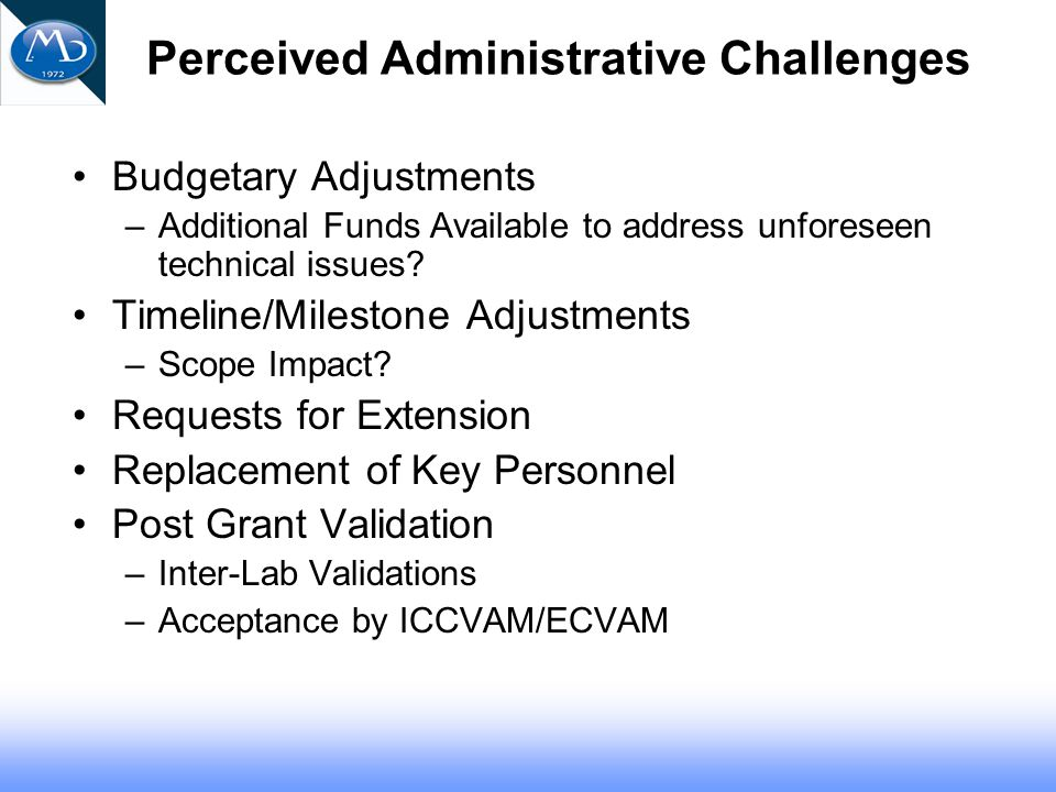 Perceived Administrative Challenges Budgetary Adjustments –Additional Funds Available to address unforeseen technical issues.
