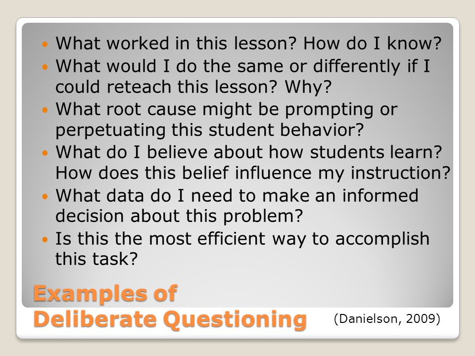 Examples of Deliberate Questioning What worked in this lesson.
