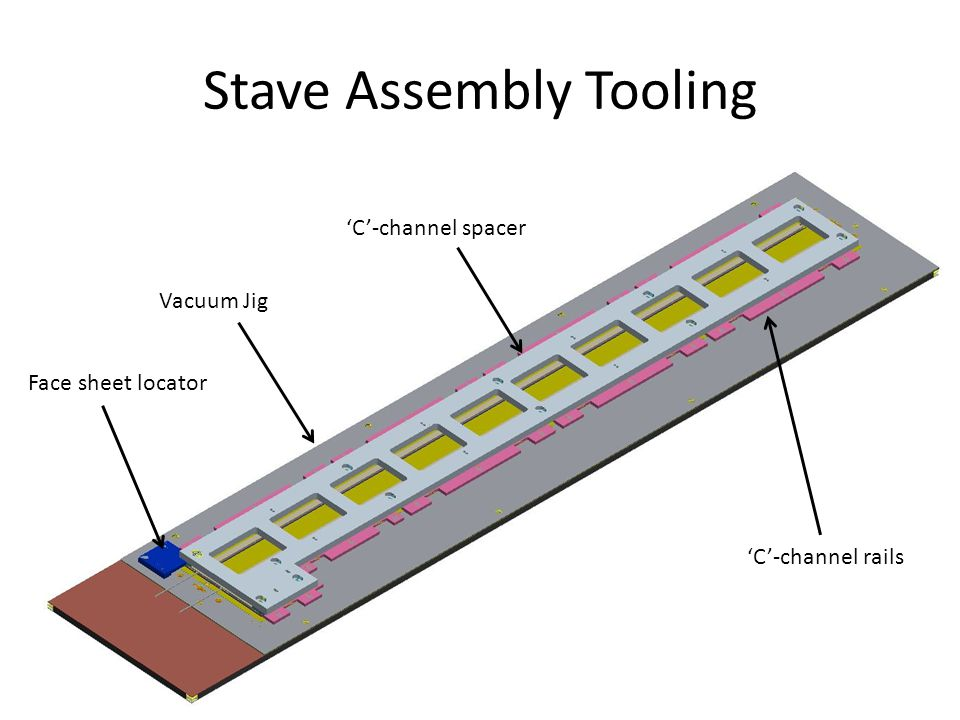 Stave Assembly Tooling Face sheet locator Vacuum Jig 'C'-channel spacer 'C'-channel rails