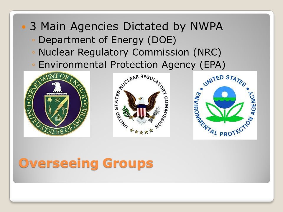 Overseeing Groups 3 Main Agencies Dictated by NWPA ◦Department of Energy (DOE) ◦Nuclear Regulatory Commission (NRC) ◦Environmental Protection Agency (EPA)