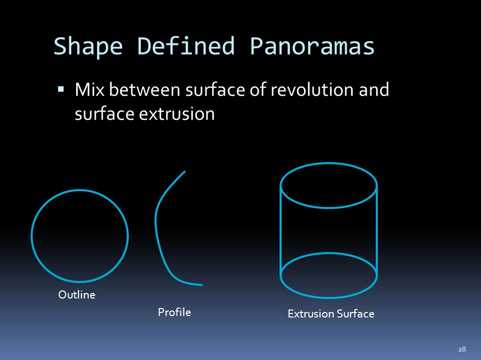 Shape Defined Panoramas  Mix between surface of revolution and surface extrusion Profile Outline Extrusion Surface 28