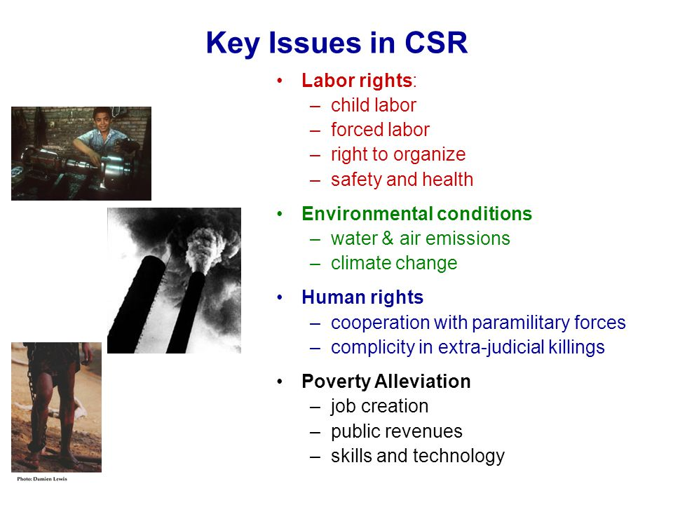 Key Issues in CSR Labor rights: –child labor –forced labor –right to organize –safety and health Environmental conditions –water & air emissions –clim