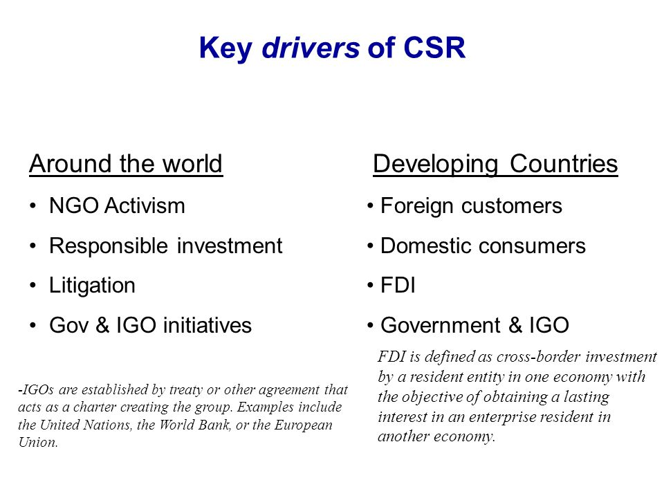 Key drivers of CSR Around the world NGO Activism Responsible investment Litigation Gov & IGO initiatives Developing Countries Foreign customers Domest